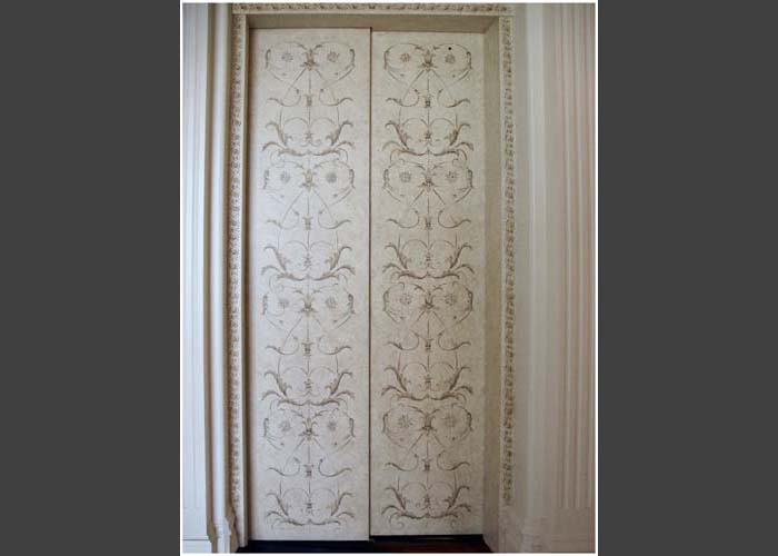 Stencil And Free Hand Accents Of A Renaissance Design On Elevator Doors In  Burnt Umber And Golds